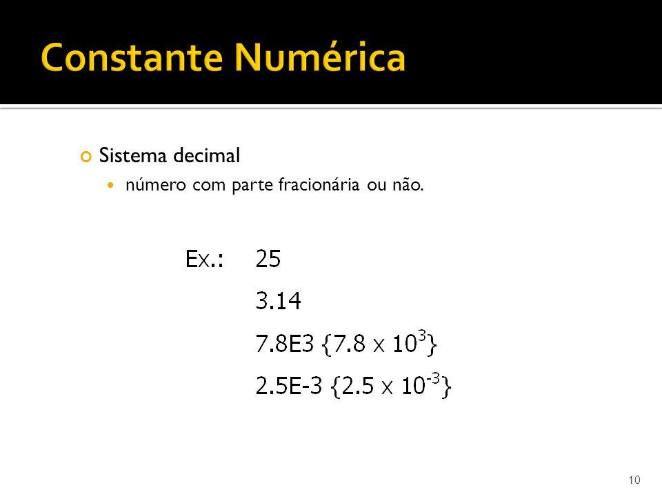 Constante Numérica Sistema decimal