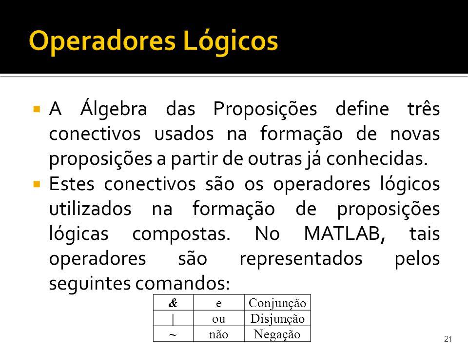 Operadores Lógicos A Álgebra das Proposições define três conectivos usados na formação de novas proposições a partir de outras já conhecidas.