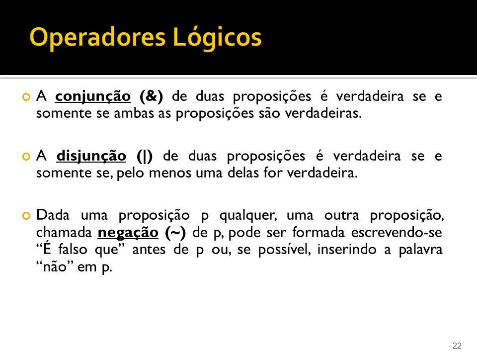 Operadores Lógicos A conjunção (&) de duas proposições é verdadeira se e somente se ambas as proposições são verdadeiras.