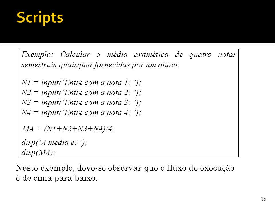 Scripts Exemplo: Calcular a média aritmética de quatro notas semestrais quaisquer fornecidas por um aluno.