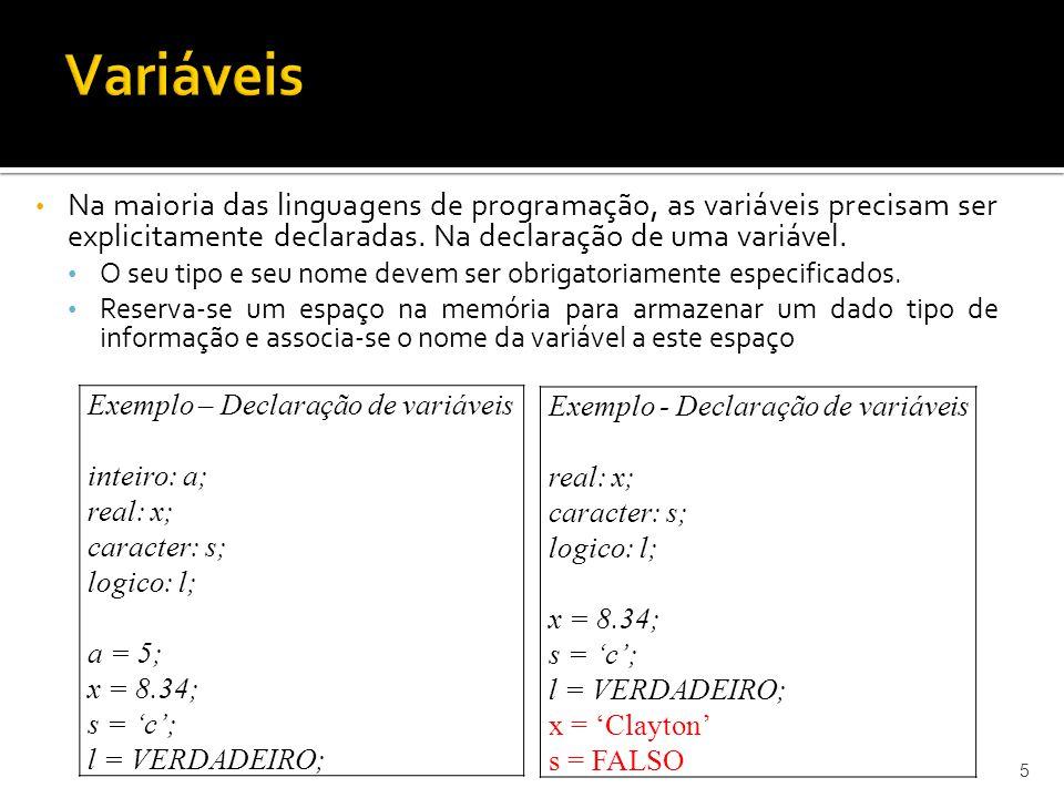 Variáveis Na maioria das linguagens de programação, as variáveis precisam ser explicitamente declaradas. Na declaração de uma variável.