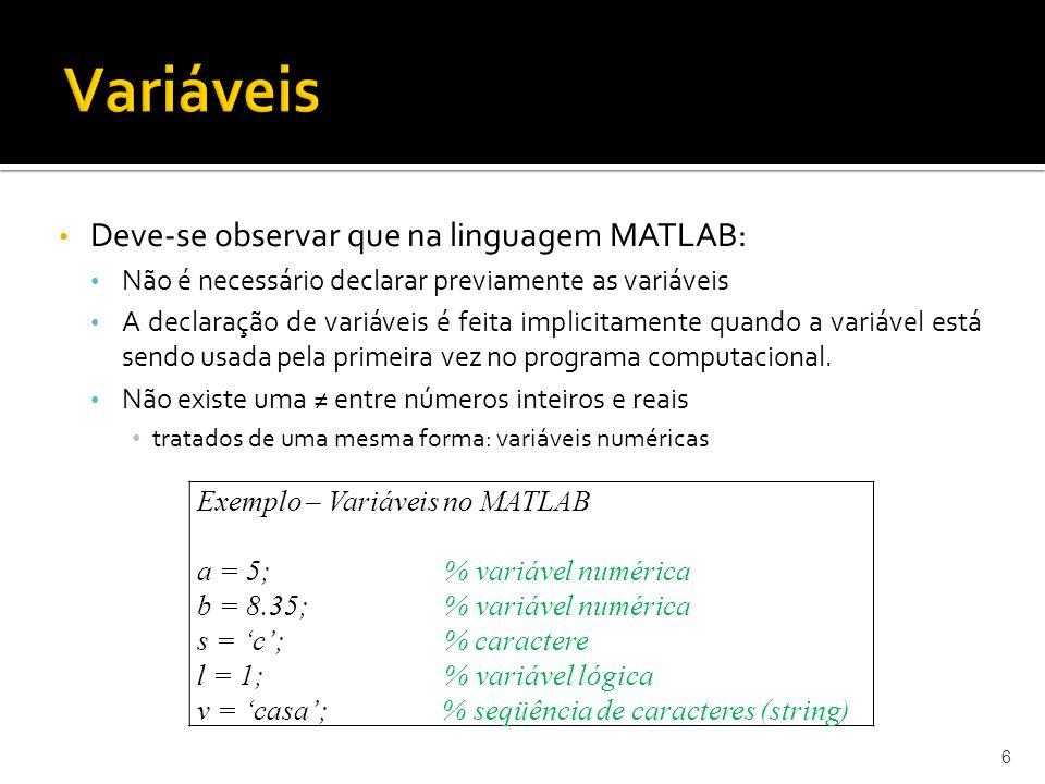 Variáveis Deve-se observar que na linguagem MATLAB:
