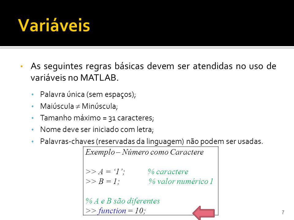Variáveis As seguintes regras básicas devem ser atendidas no uso de variáveis no MATLAB. Palavra única (sem espaços);