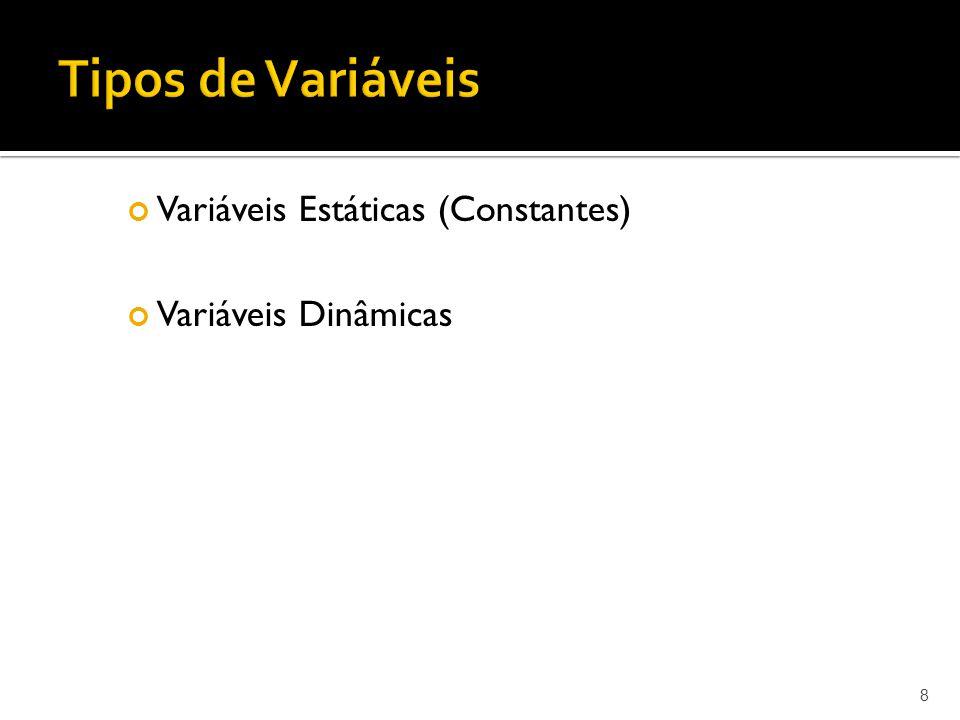 Tipos de Variáveis Variáveis Estáticas (Constantes)