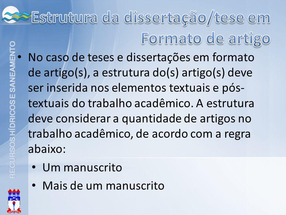 Estrutura da dissertação/tese em Formato de artigo