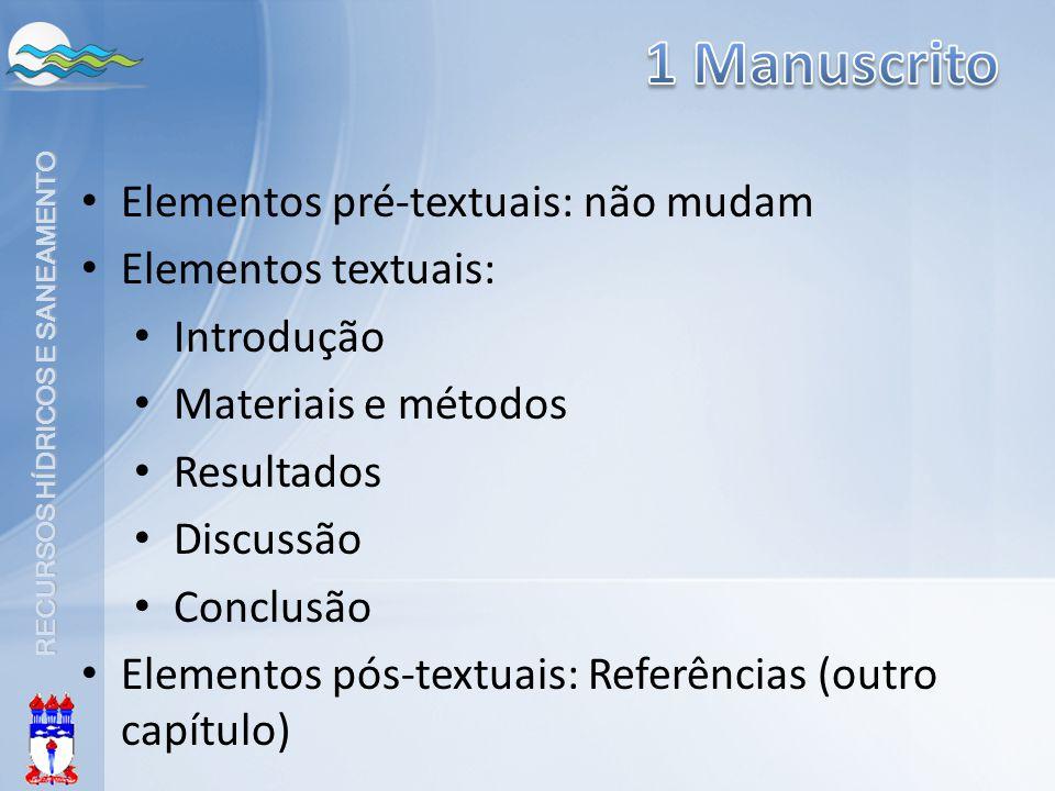 1 Manuscrito Elementos pré-textuais: não mudam Elementos textuais: