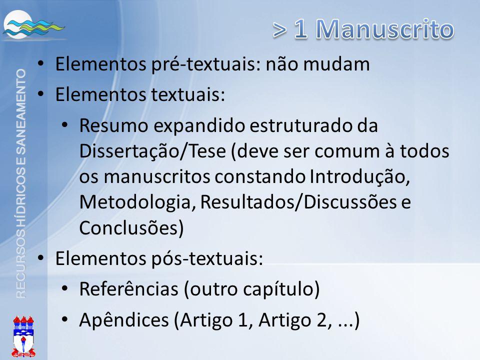 > 1 Manuscrito Elementos pré-textuais: não mudam