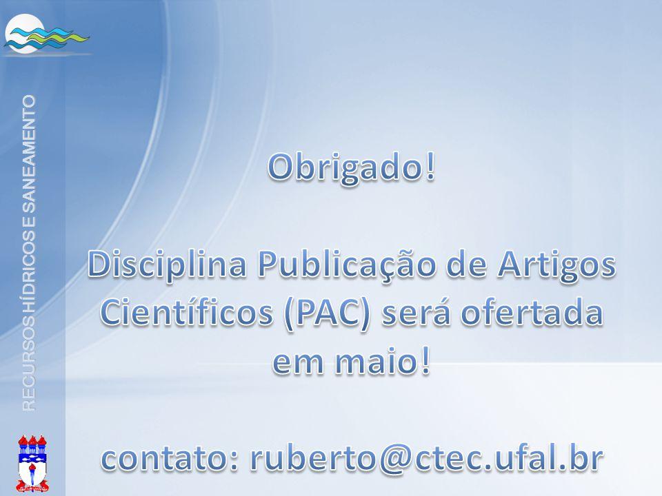 Disciplina Publicação de Artigos Científicos (PAC) será ofertada