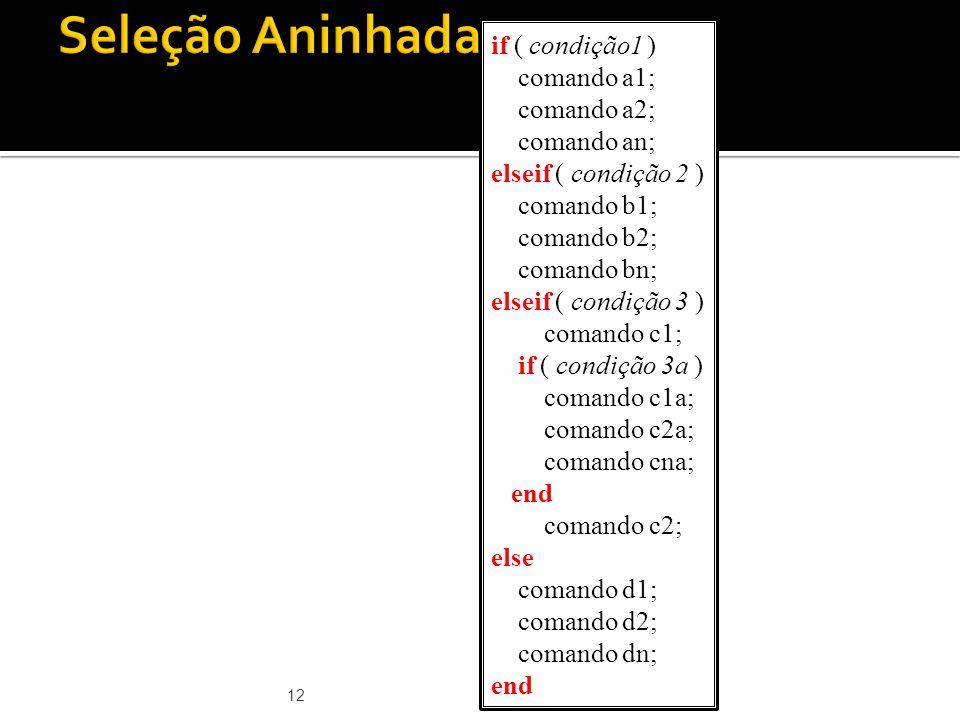 Seleção Aninhada if ( condição1 ) comando a1; comando a2; comando an;