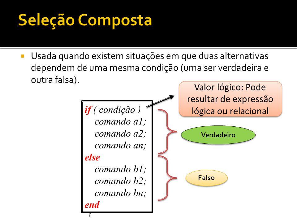 Valor lógico: Pode resultar de expressão lógica ou relacional