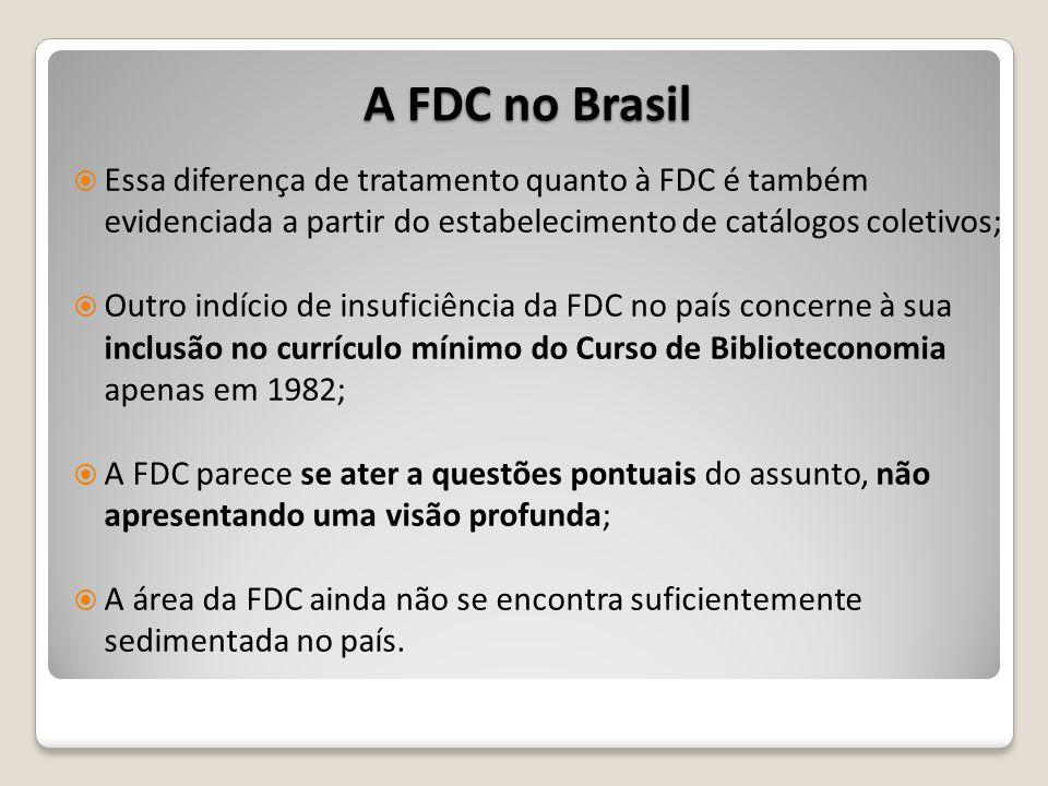 A FDC no Brasil Essa diferença de tratamento quanto à FDC é também evidenciada a partir do estabelecimento de catálogos coletivos;