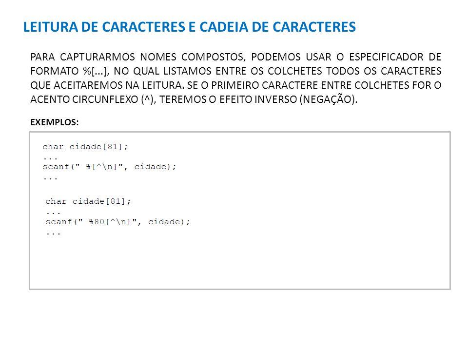 LEITURA DE CARACTERES E CADEIA DE CARACTERES