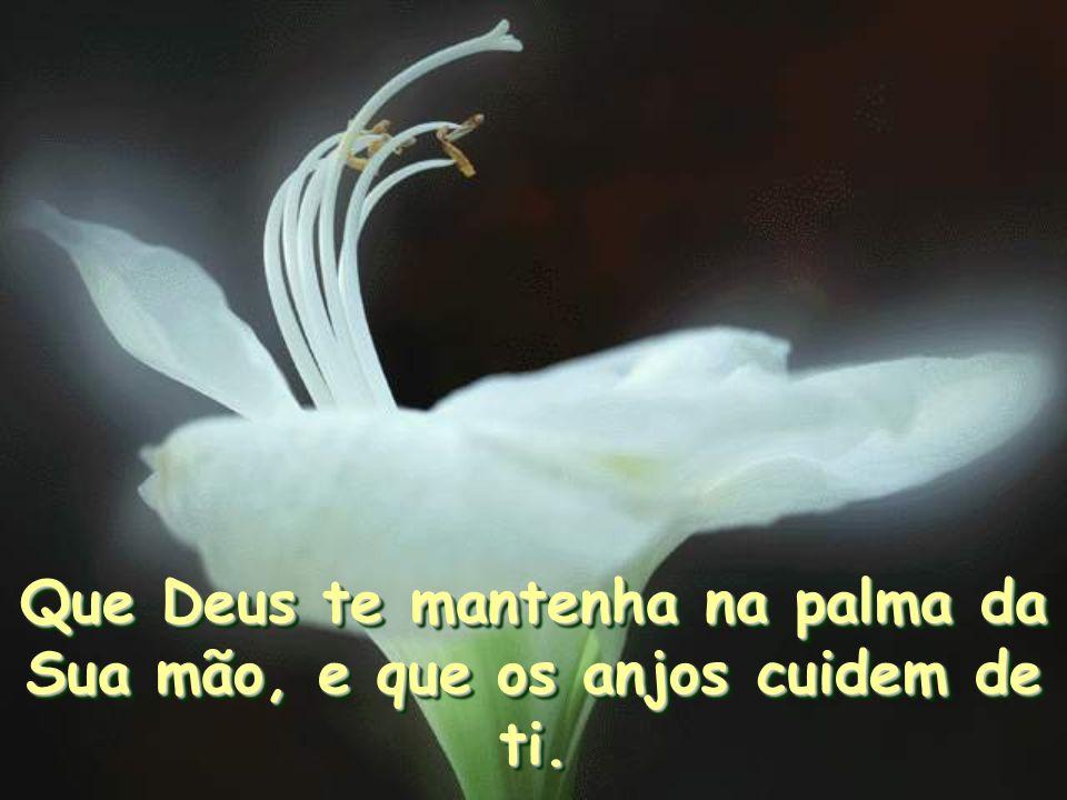 Que Deus te mantenha na palma da Sua mão, e que os anjos cuidem de ti.