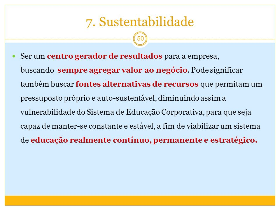 7. Sustentabilidade