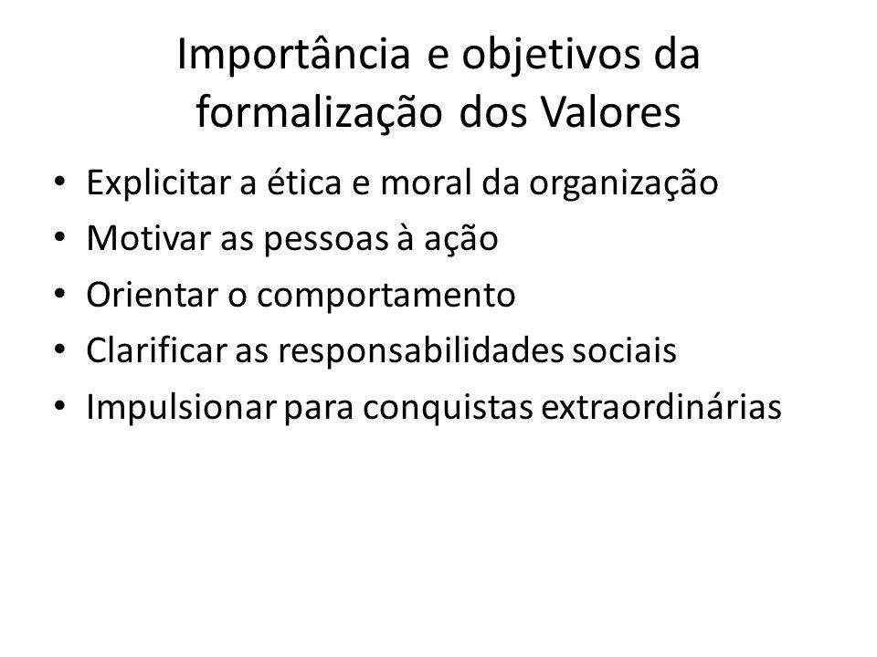 Importância e objetivos da formalização dos Valores