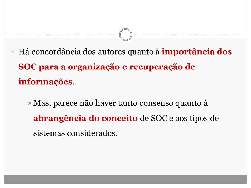 Há concordância dos autores quanto à importância dos SOC para a organização e recuperação de informações...