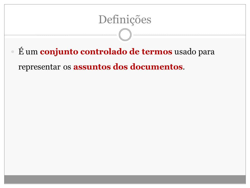 Definições É um conjunto controlado de termos usado para representar os assuntos dos documentos.