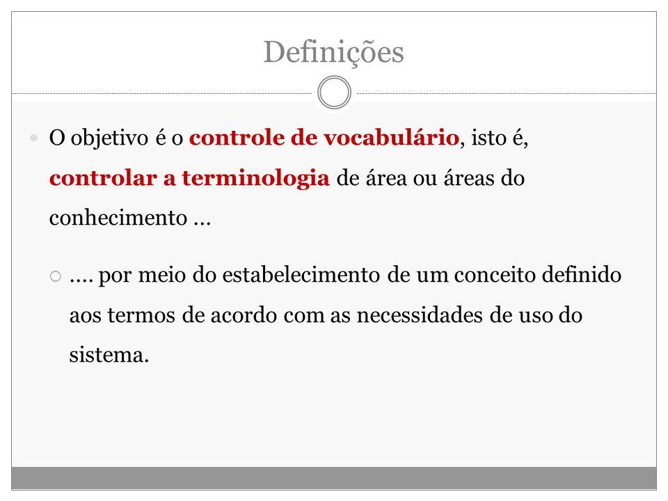 Definições O objetivo é o controle de vocabulário, isto é, controlar a terminologia de área ou áreas do conhecimento ...
