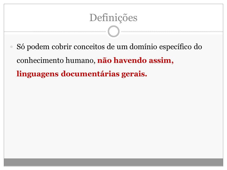 Definições Só podem cobrir conceitos de um domínio específico do conhecimento humano, não havendo assim, linguagens documentárias gerais.