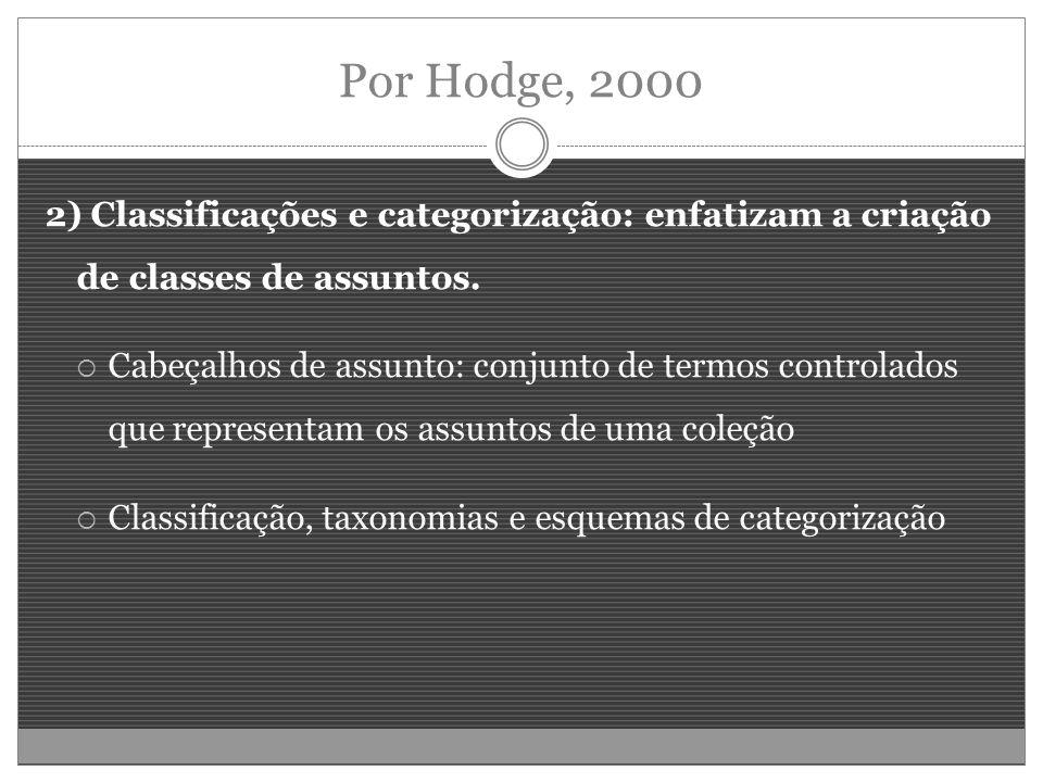 Por Hodge, 2000 2) Classificações e categorização: enfatizam a criação de classes de assuntos.