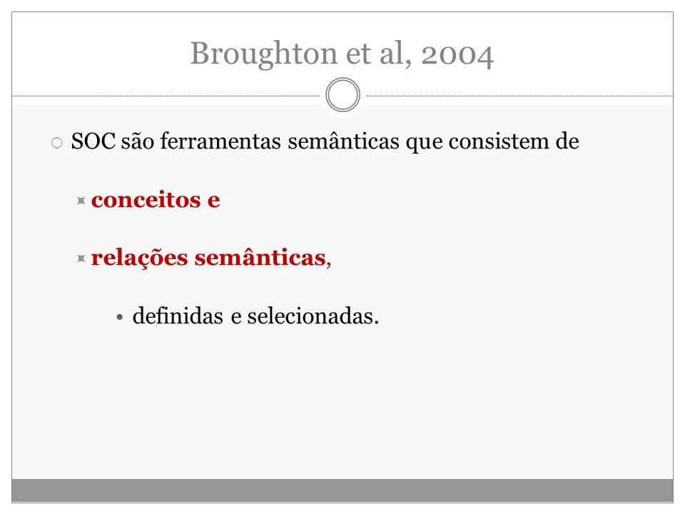 Broughton et al, 2004 SOC são ferramentas semânticas que consistem de