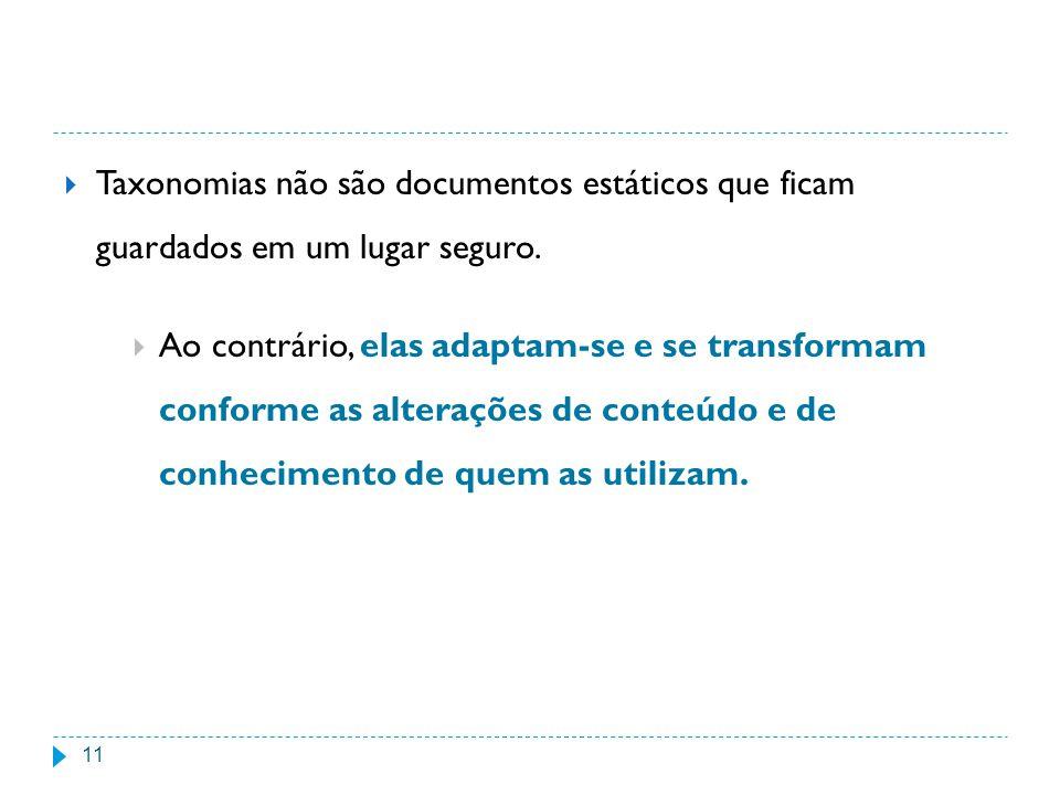 Taxonomias não são documentos estáticos que ficam guardados em um lugar seguro.