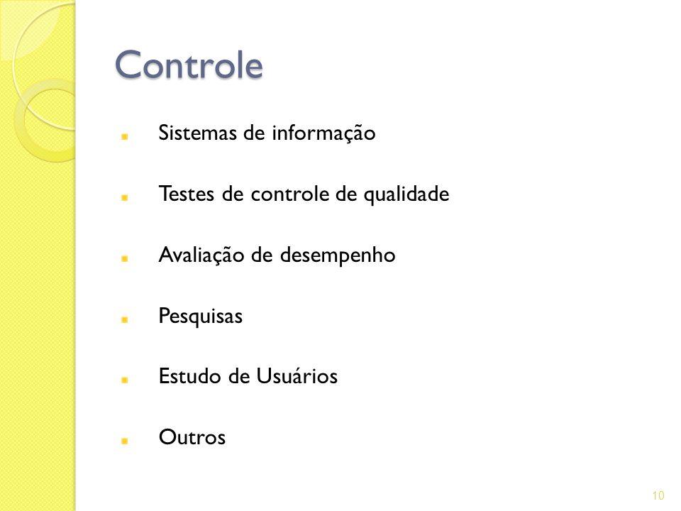 Controle Sistemas de informação Testes de controle de qualidade