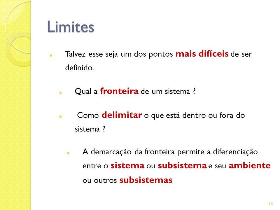Limites Talvez esse seja um dos pontos mais difíceis de ser definido.