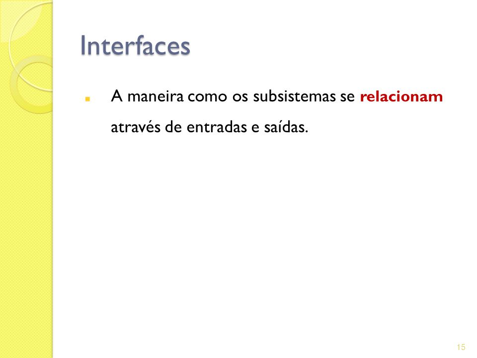 Interfaces A maneira como os subsistemas se relacionam através de entradas e saídas.