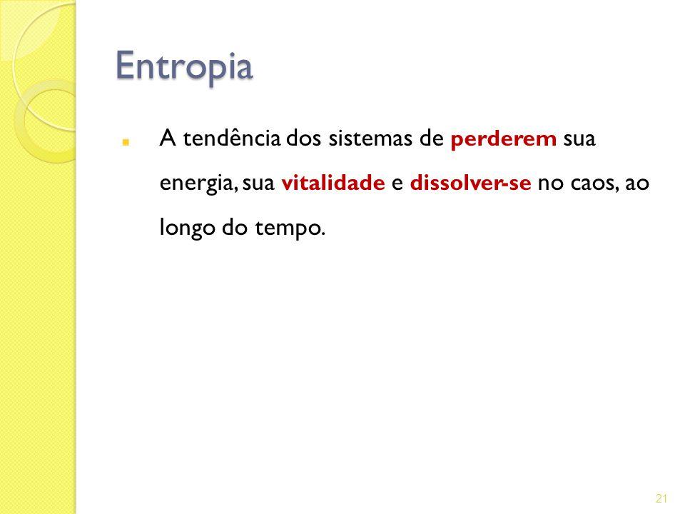Entropia A tendência dos sistemas de perderem sua energia, sua vitalidade e dissolver-se no caos, ao longo do tempo.
