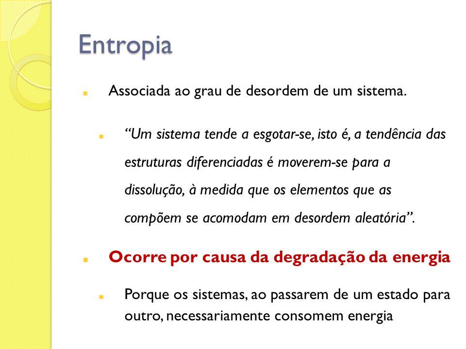 Entropia Ocorre por causa da degradação da energia