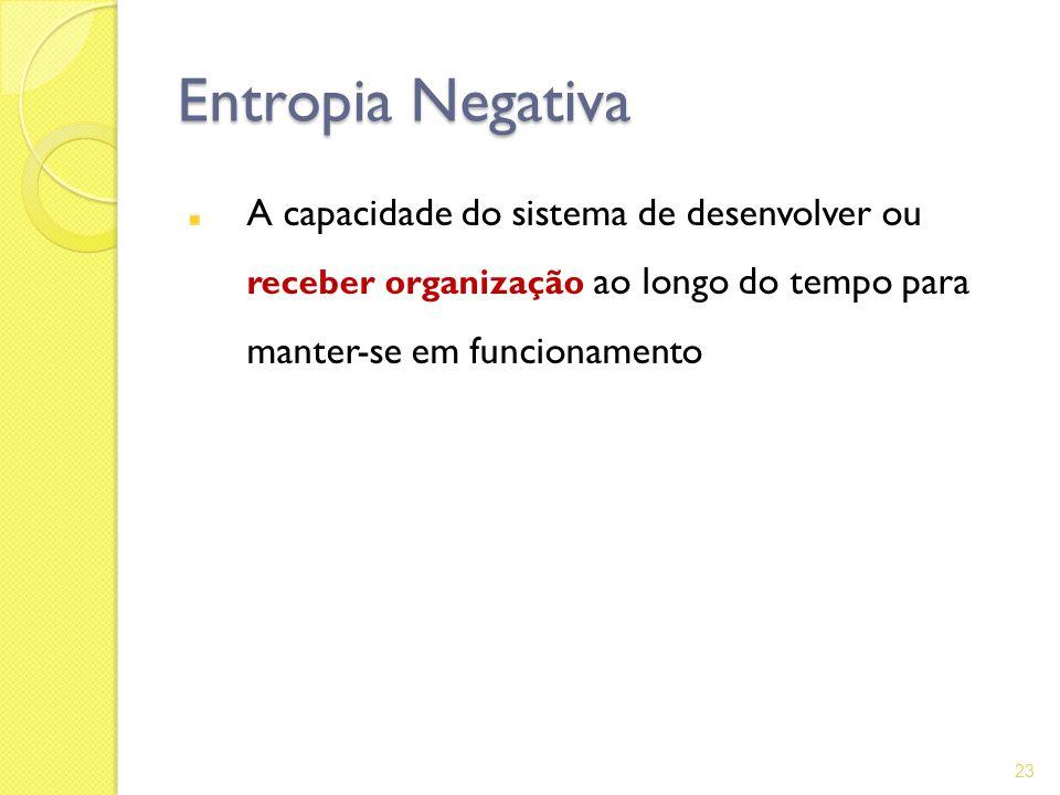 Entropia Negativa A capacidade do sistema de desenvolver ou receber organização ao longo do tempo para manter-se em funcionamento.