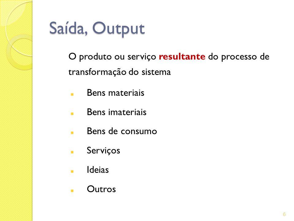 Saída, Output O produto ou serviço resultante do processo de transformação do sistema. Bens materiais.