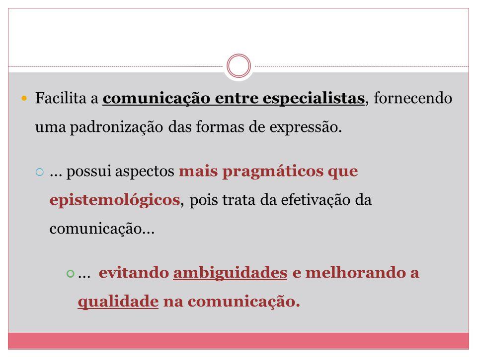 Facilita a comunicação entre especialistas, fornecendo uma padronização das formas de expressão.
