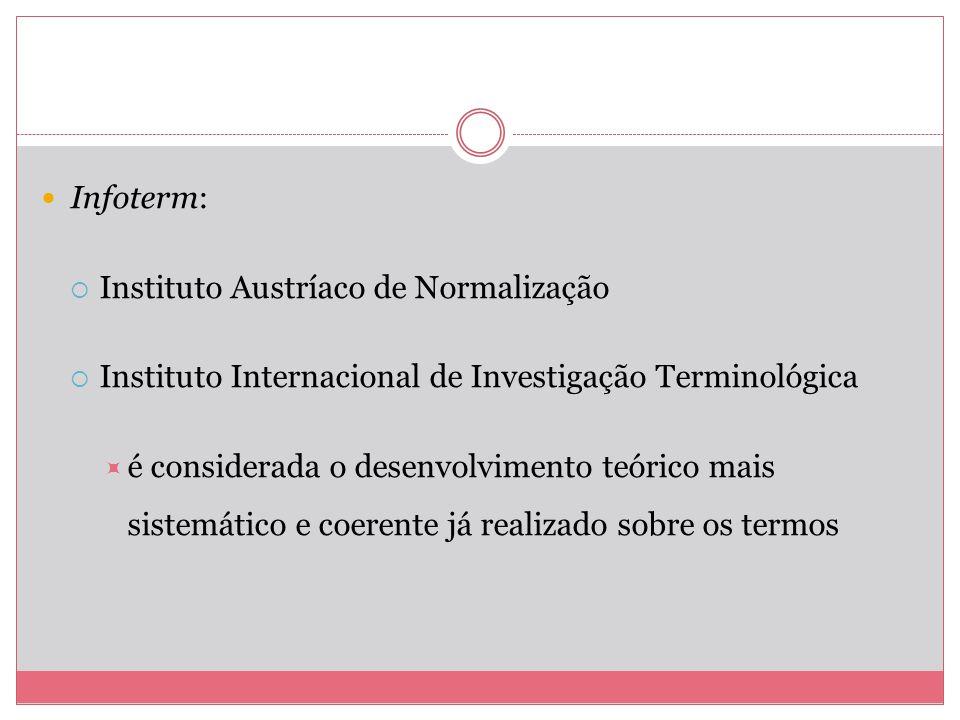 Infoterm: Instituto Austríaco de Normalização. Instituto Internacional de Investigação Terminológica.