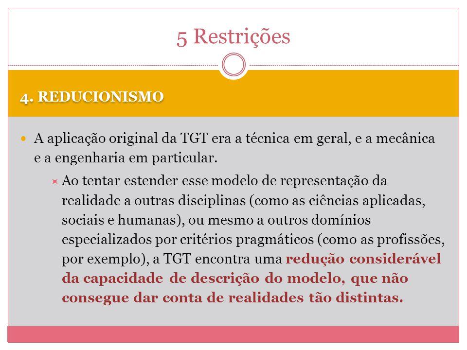 5 Restrições 4. REDUCIONISMO