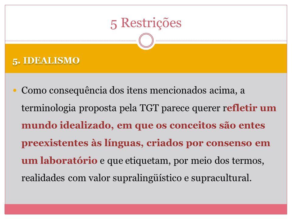 5 Restrições 5. IDEALISMO.