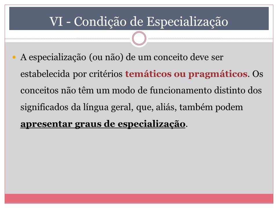 VI - Condição de Especialização