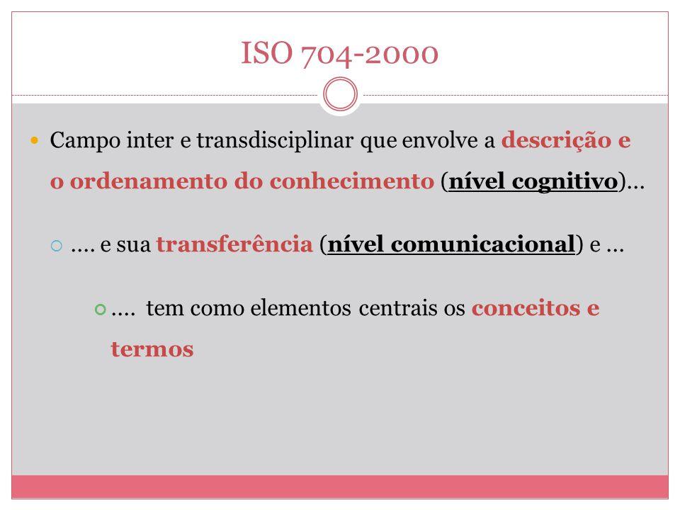 ISO 704-2000 Campo inter e transdisciplinar que envolve a descrição e o ordenamento do conhecimento (nível cognitivo)...