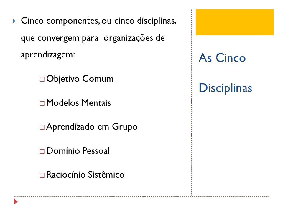 Cinco componentes, ou cinco disciplinas, que convergem para organizações de aprendizagem: