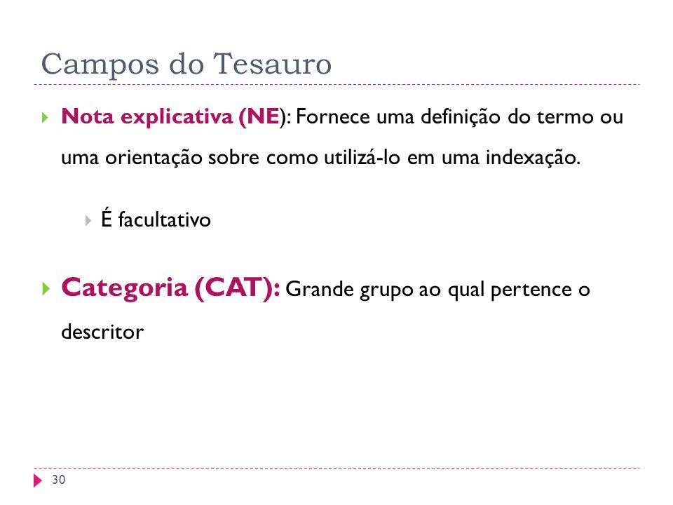 Campos do Tesauro Nota explicativa (NE): Fornece uma definição do termo ou uma orientação sobre como utilizá-lo em uma indexação.