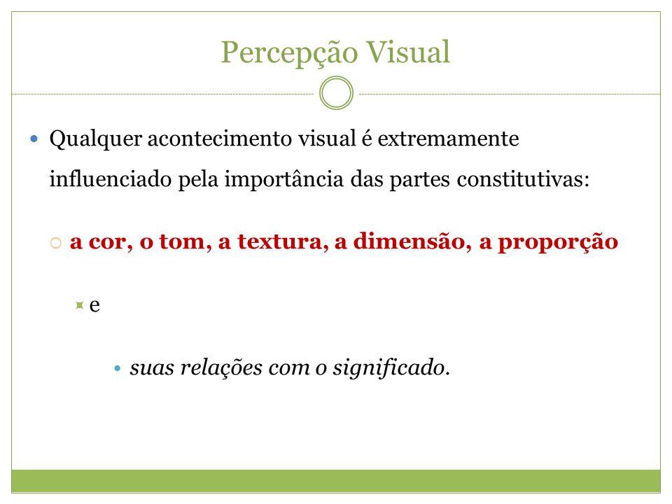 Percepção Visual Qualquer acontecimento visual é extremamente influenciado pela importância das partes constitutivas: