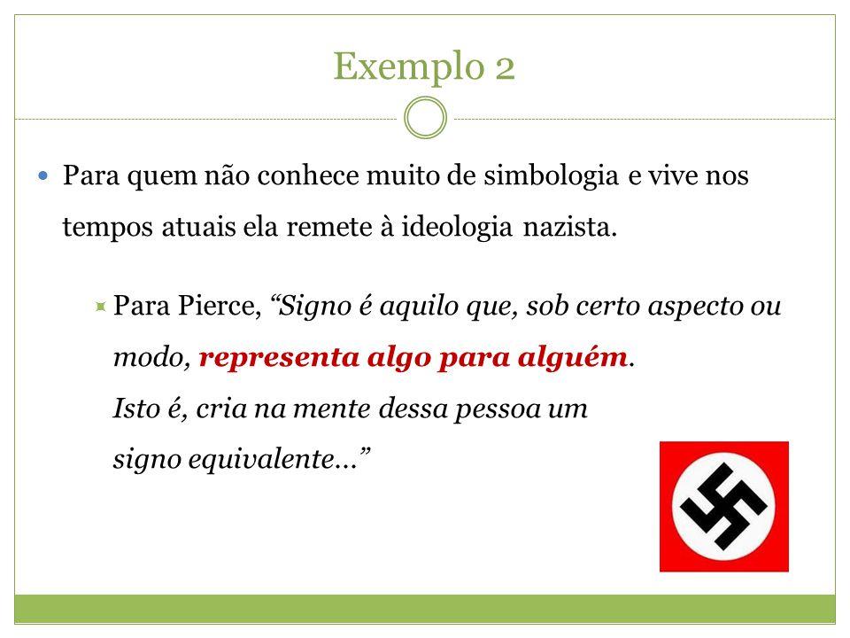 Exemplo 2 Para quem não conhece muito de simbologia e vive nos tempos atuais ela remete à ideologia nazista.