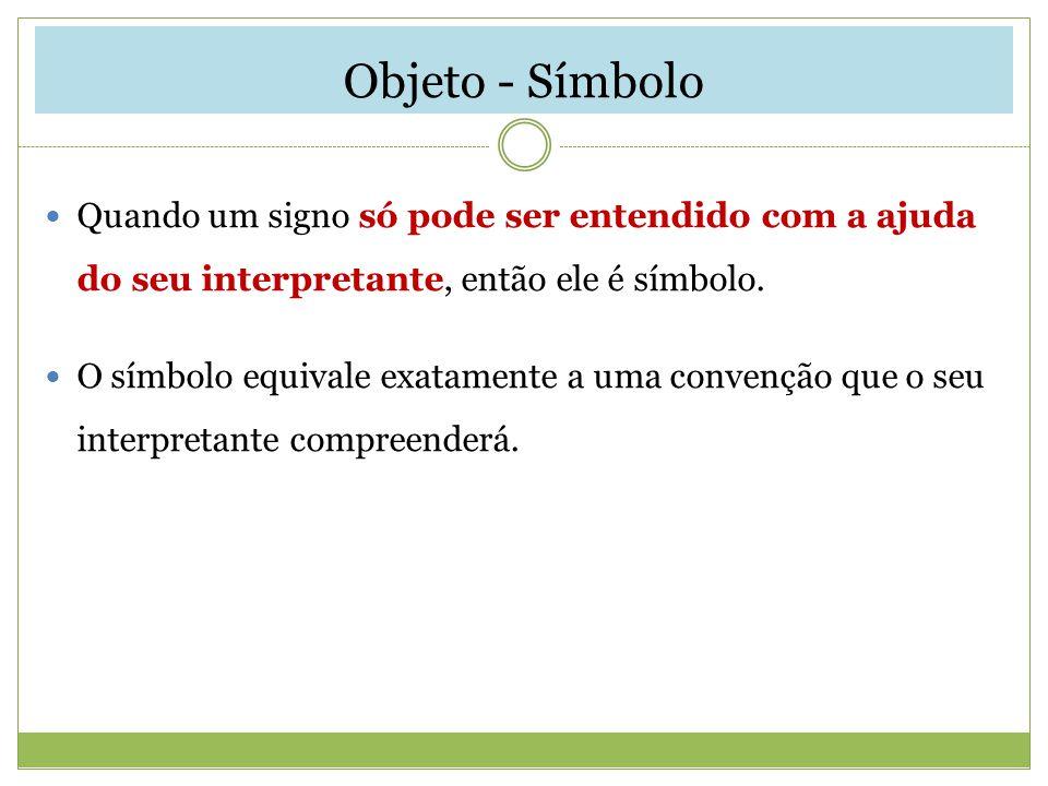 Objeto - Símbolo Quando um signo só pode ser entendido com a ajuda do seu interpretante, então ele é símbolo.