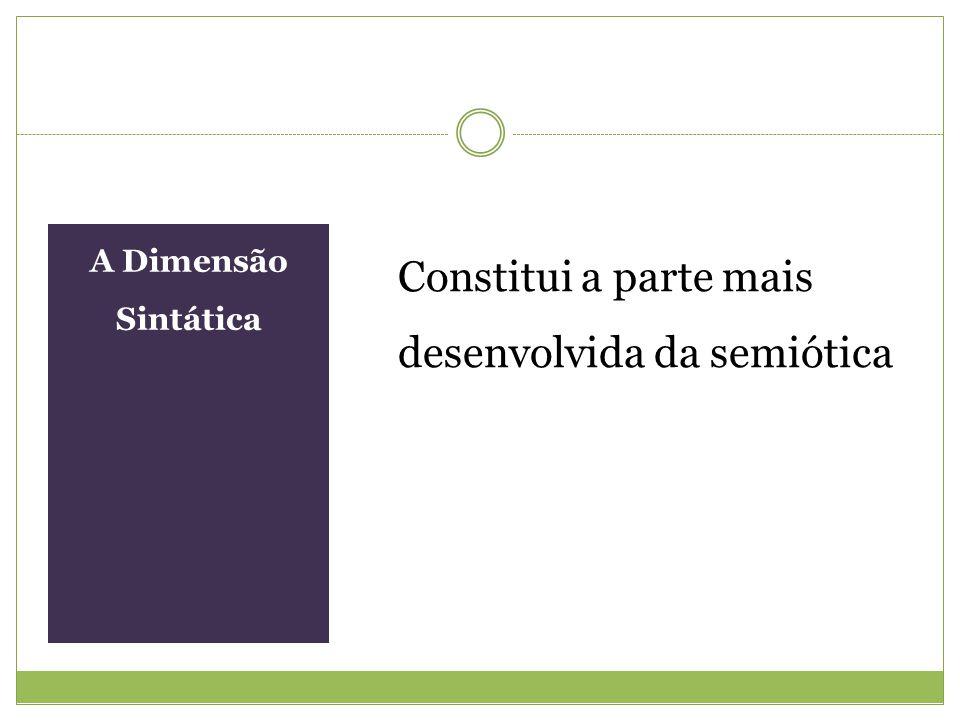 A Dimensão Sintática Constitui a parte mais desenvolvida da semiótica