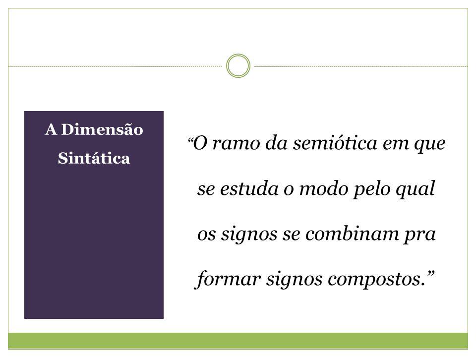 A Dimensão Sintática O ramo da semiótica em que se estuda o modo pelo qual os signos se combinam pra formar signos compostos.