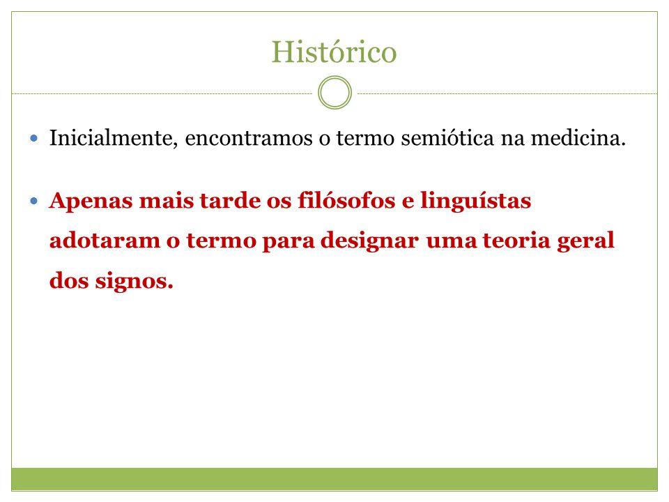 Histórico Inicialmente, encontramos o termo semiótica na medicina.