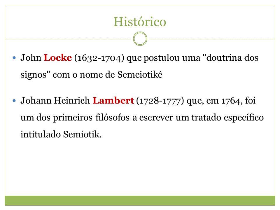 Histórico John Locke (1632-1704) que postulou uma doutrina dos signos com o nome de Semeiotiké.