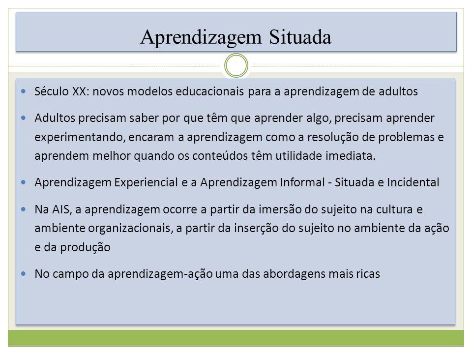 Aprendizagem Situada Século XX: novos modelos educacionais para a aprendizagem de adultos.