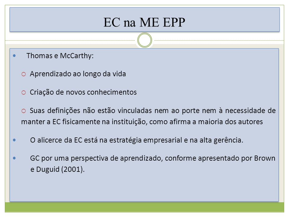 EC na ME EPP Thomas e McCarthy: Aprendizado ao longo da vida